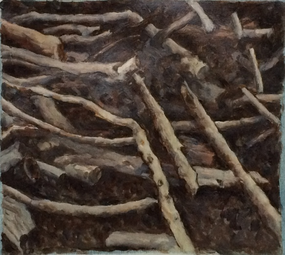 sticks painting 2 7x8
